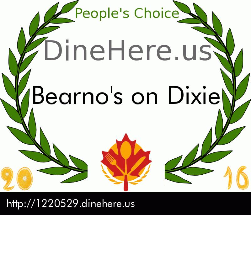 Bearno's on Dixie DineHere.us 2016 Award Winner